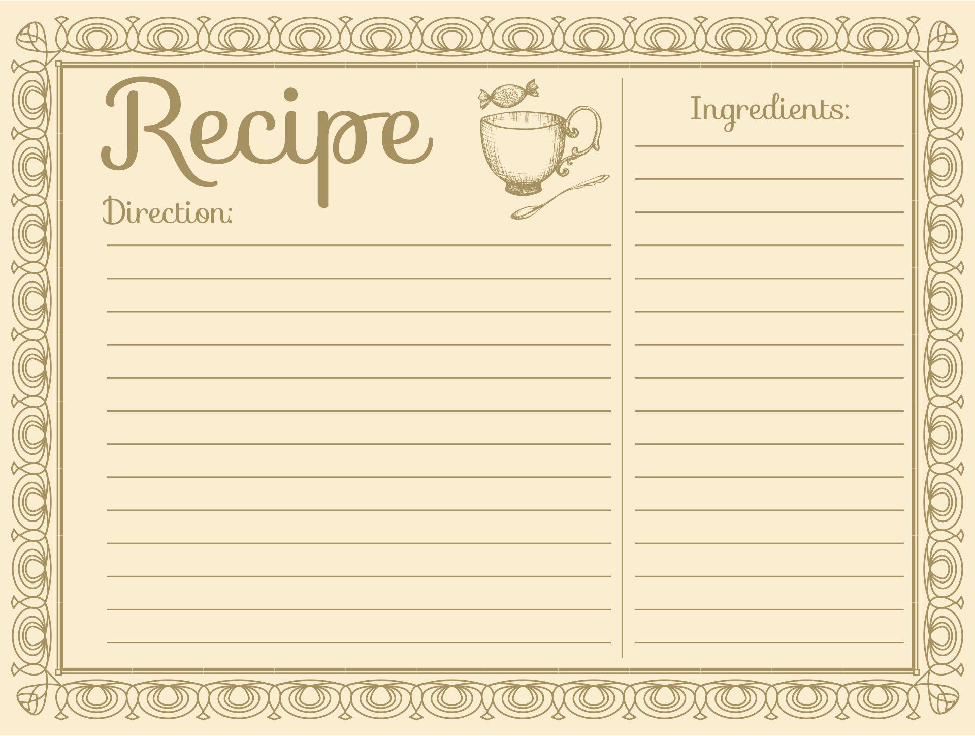 Printable Vintage Recipe Cards 4X6