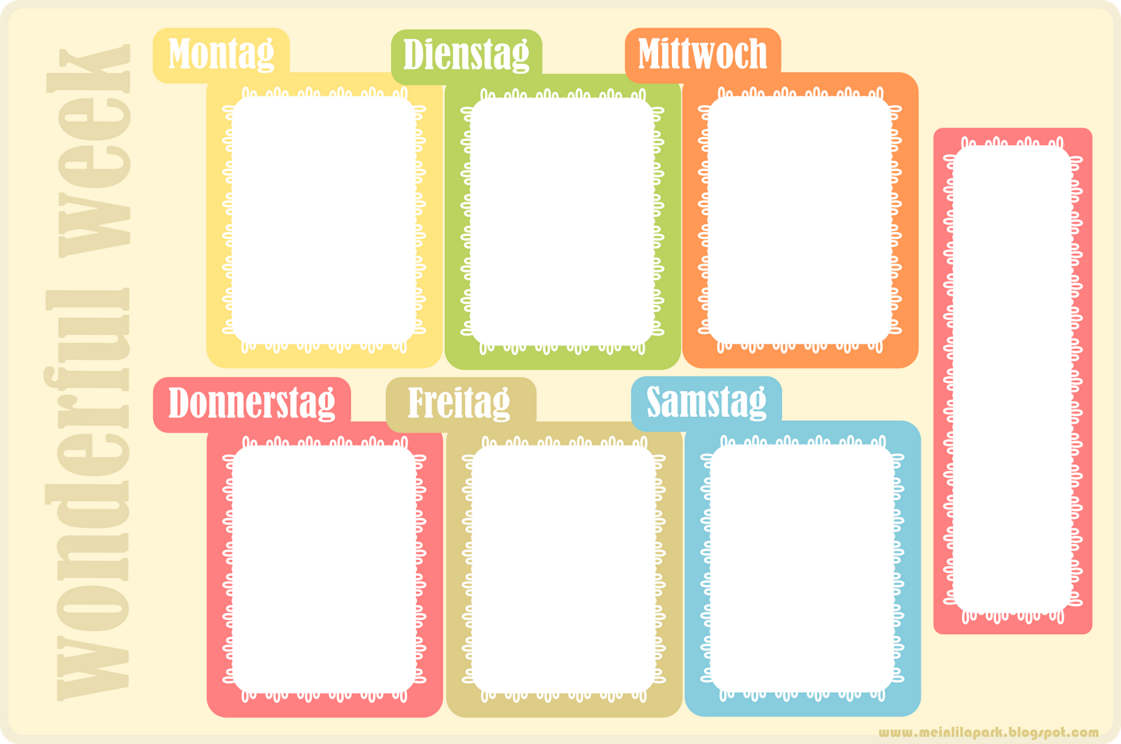 7 Images of Colourful Weekly Homework Planner Printable