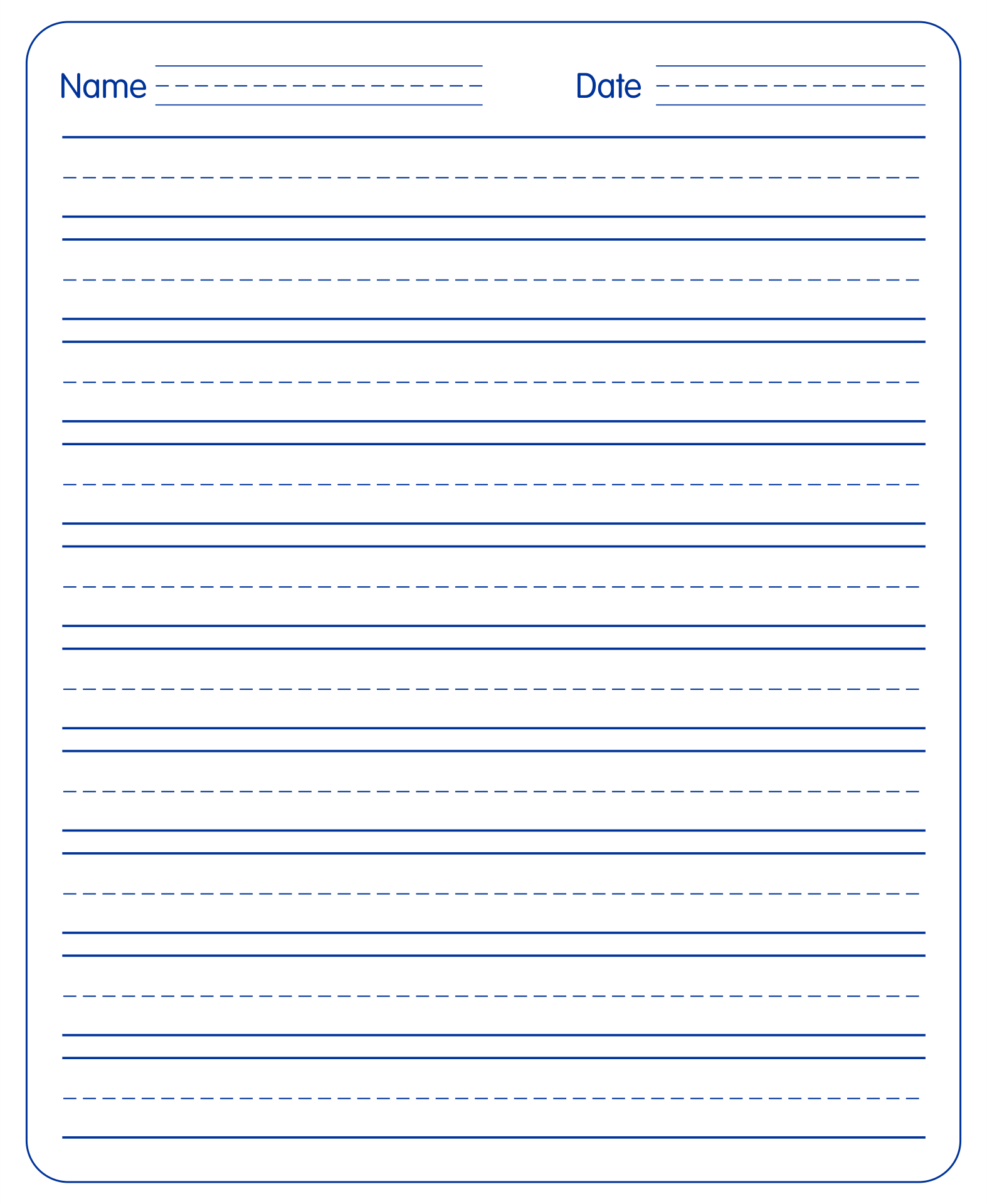 free printable handwriting paper for kids