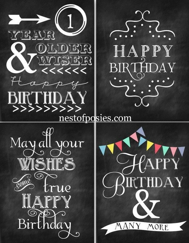 Happy Birthday Chalkboard Printables