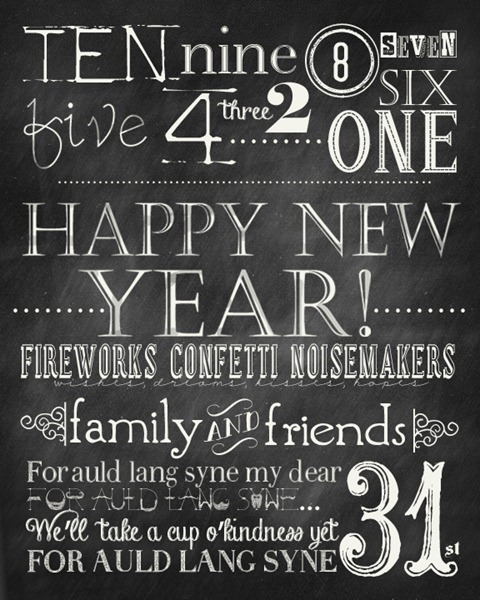 Happy New Year Chalkboard Printables Free