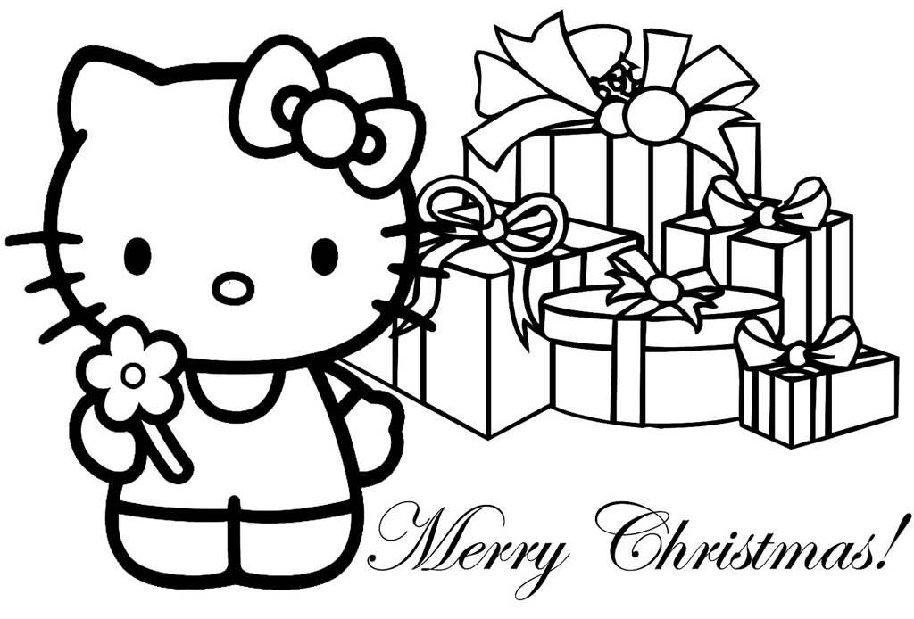 6 Images of Hello Kitty Christmas Coloring Printables