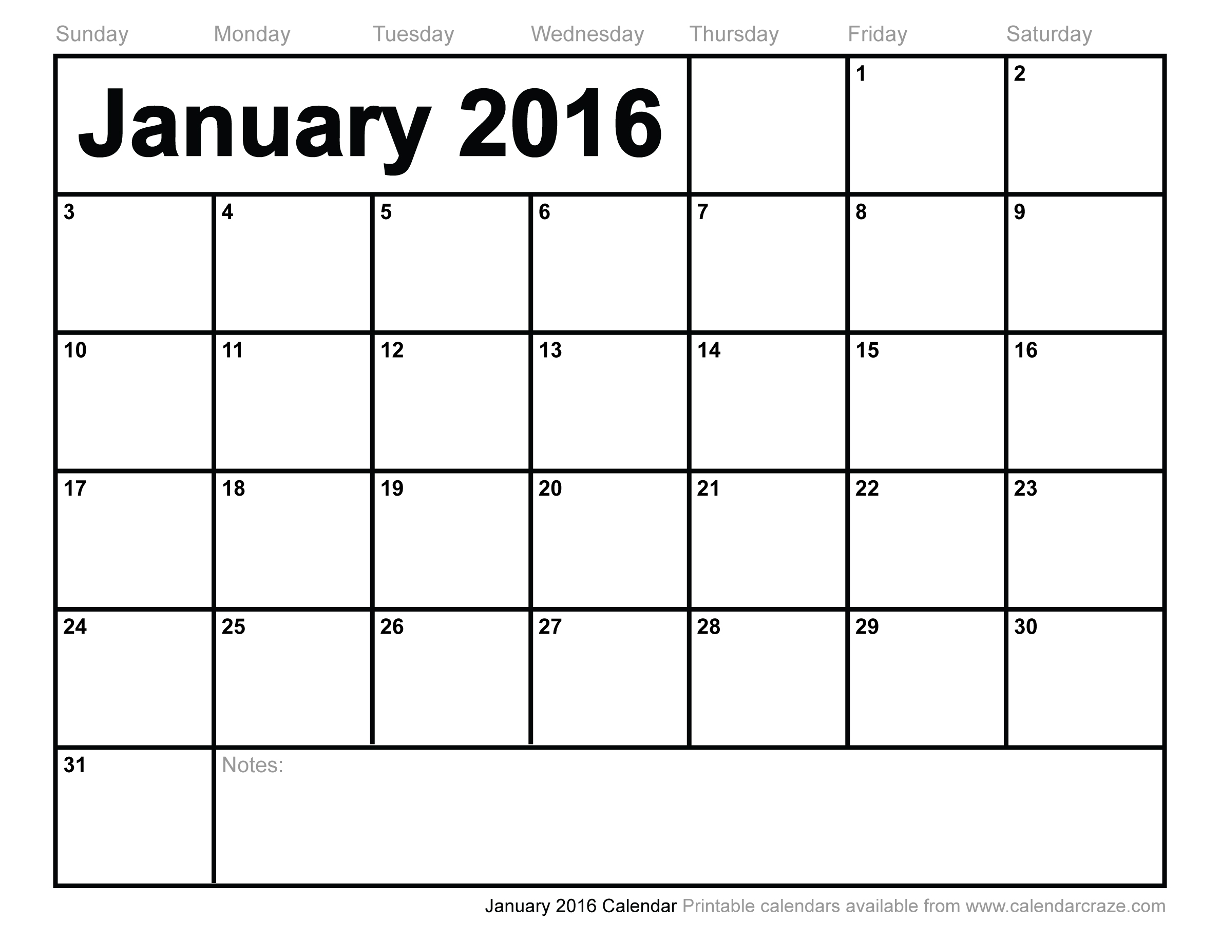 6 Images of January 2016 Calendar Printable Free