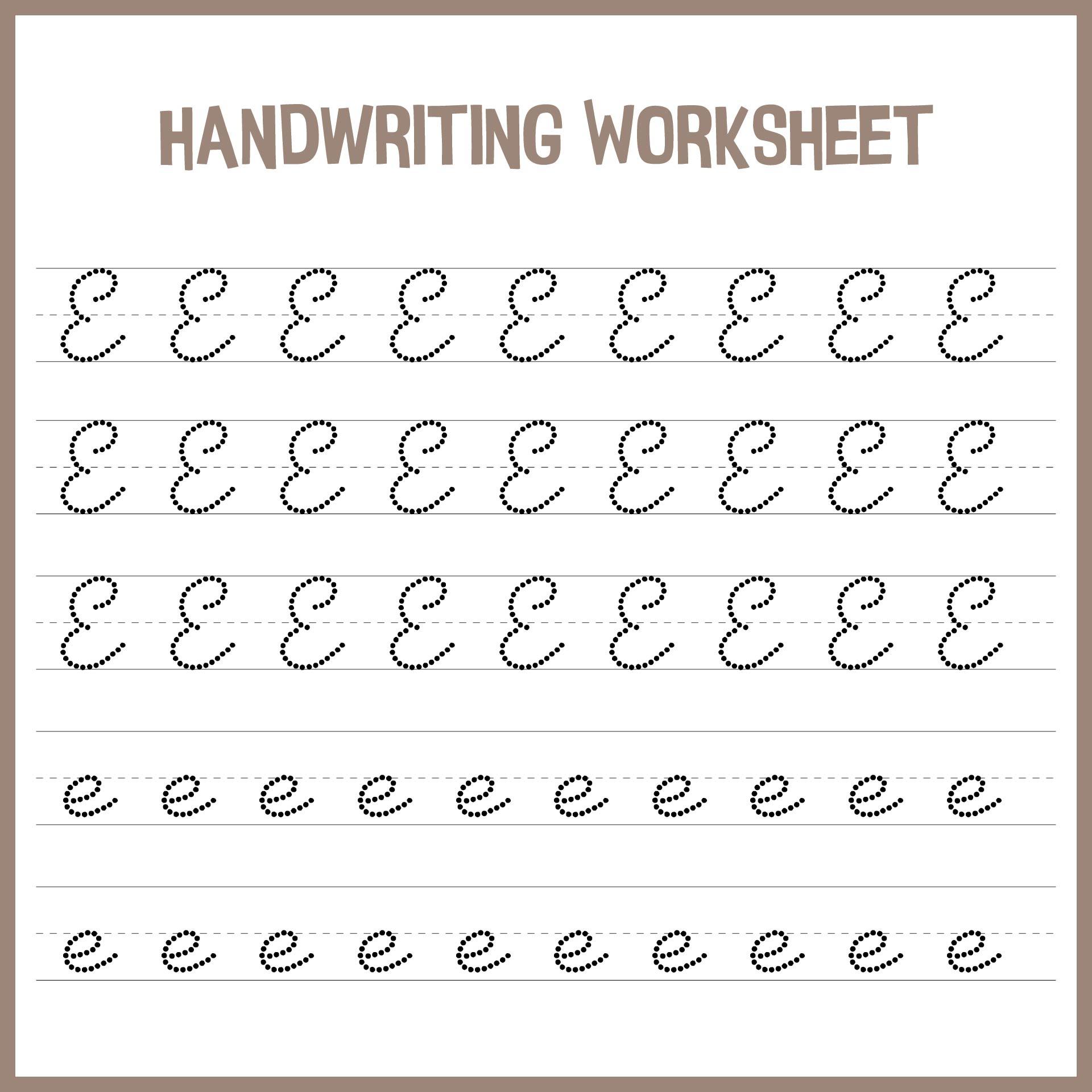 Letter E Handwriting Kindergarten Worksheets Printable