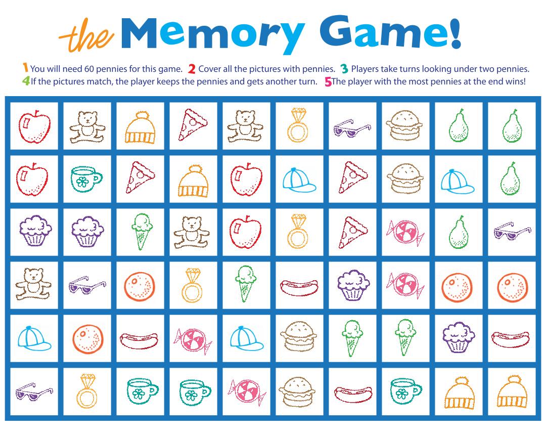 Memory Game Printable Worksheets
