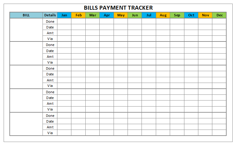 6 Images of Free 6X9 Printable Bill Payment Tracker