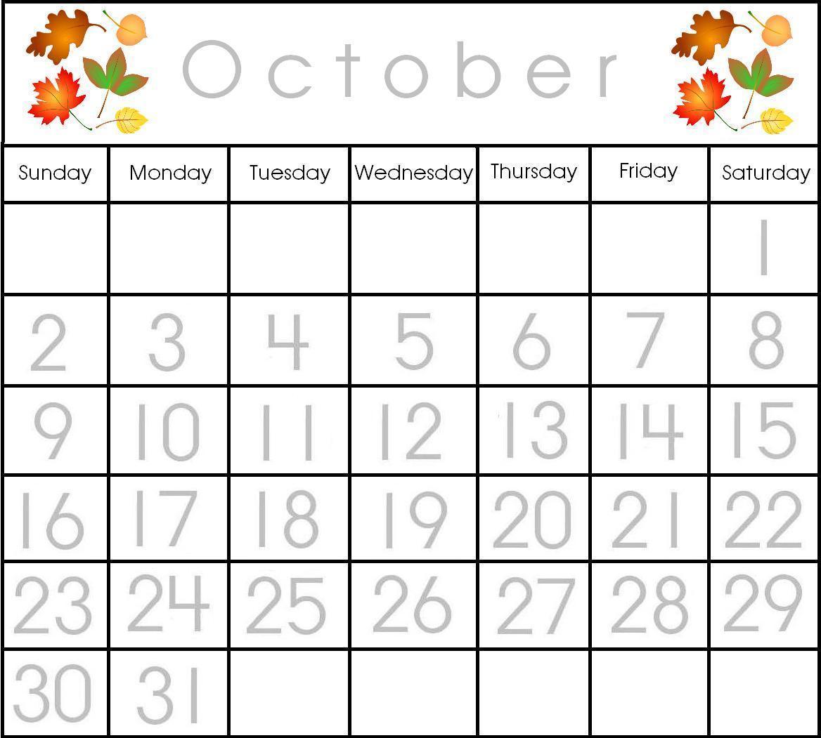October Calendar Ideas For Preschool : Free printable preschool calendar numbers