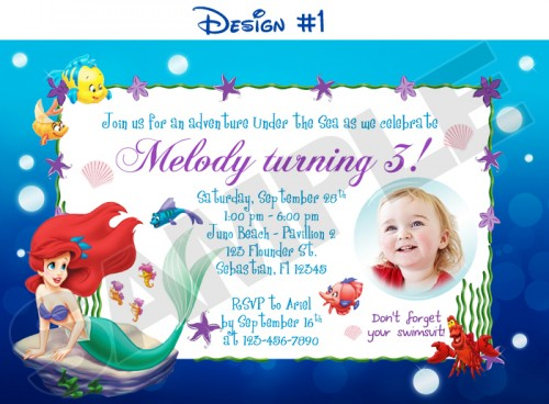 6 Images of Ariel Printable Birthday Invitations