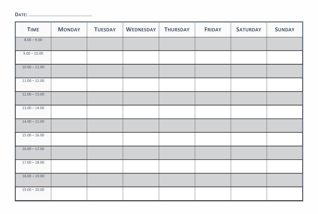 Printable Blank Weekly Schedule Template