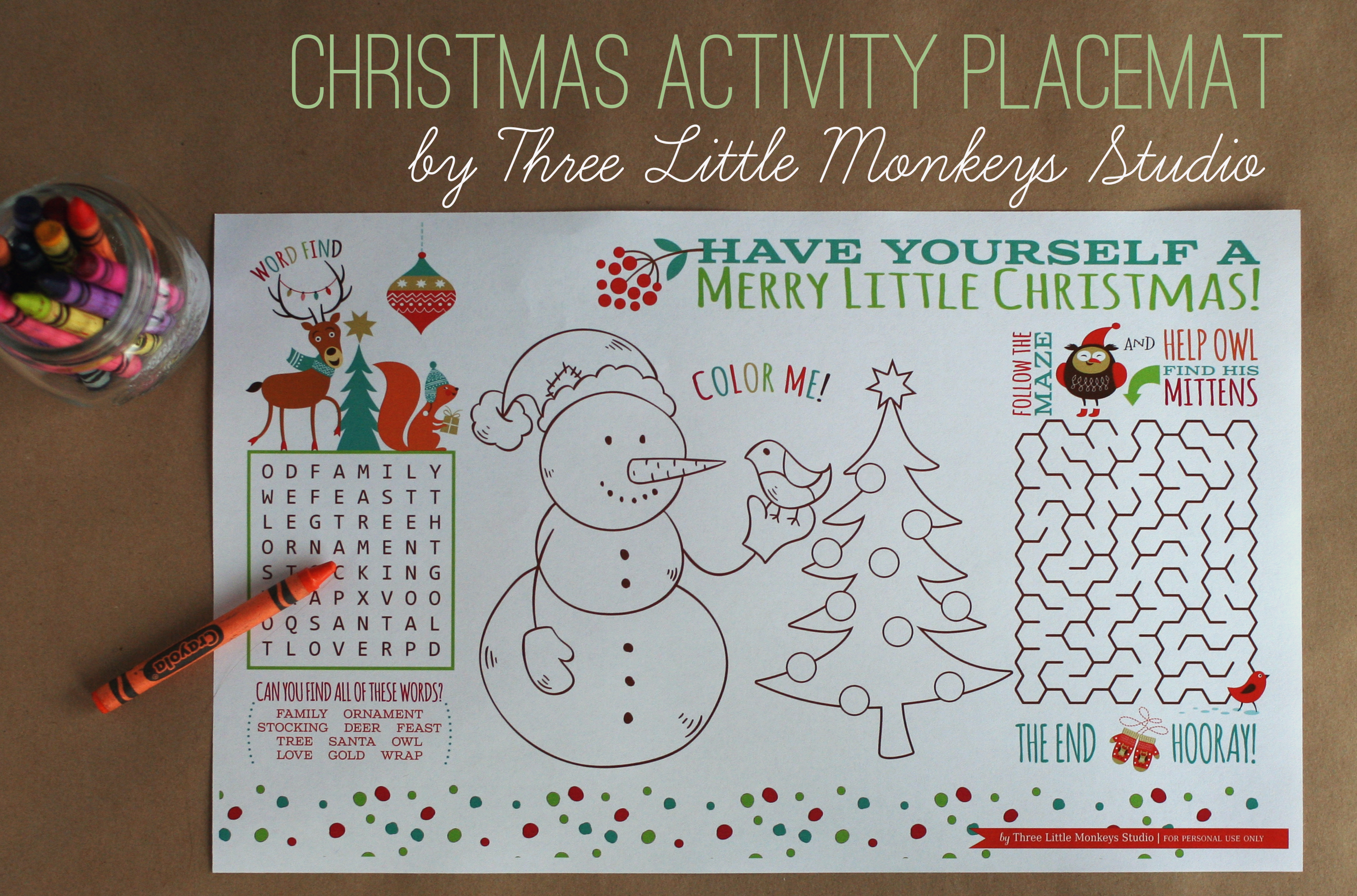 4 Images of Free Printable Christmas Placemats