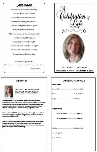 6 Images of Funeral Service Card Printable