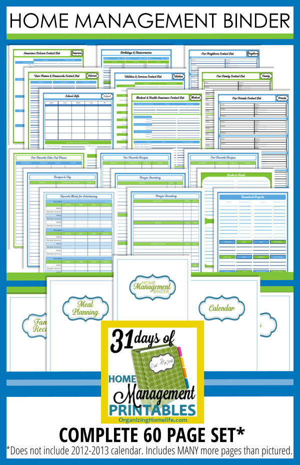 Printable Home Management Binder Pages