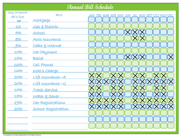 7 Images of Organizing Home Life Printables Bill Pay