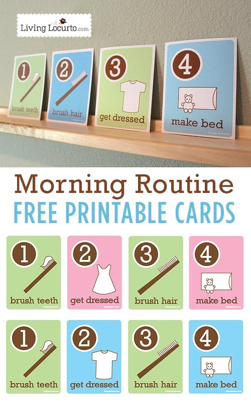 6 Images of Free Printable Morning Routine Cards