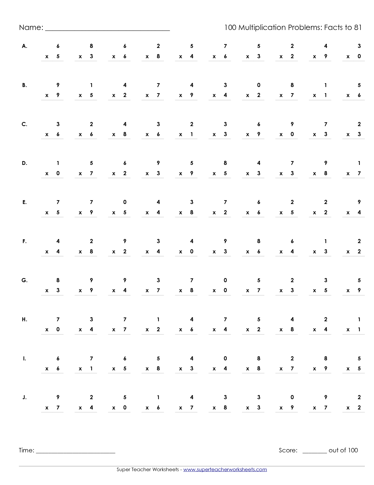 6 Images of 100 Multiplication Printable Out Sheet