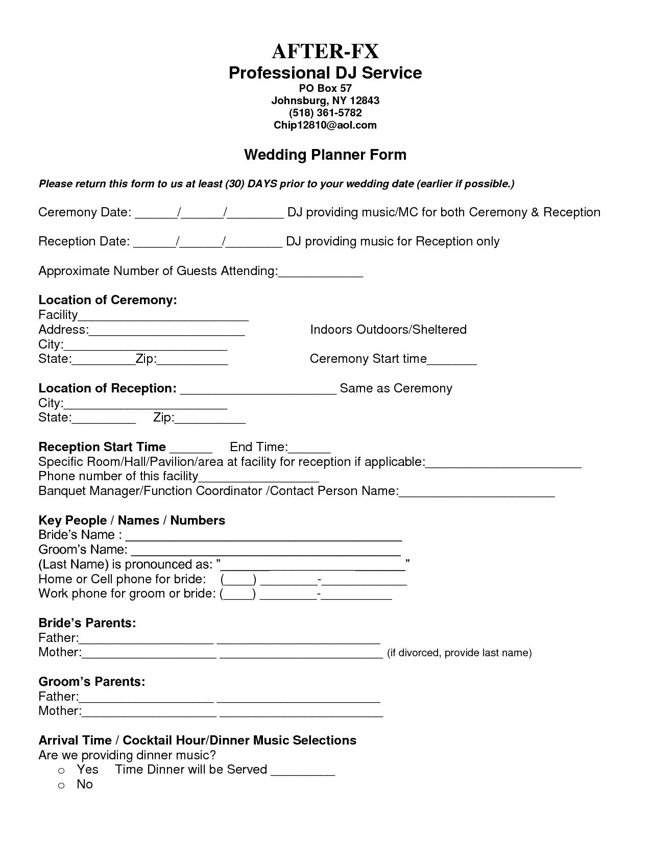 7 best images of printable wedding planning forms wedding party checklist printable printable. Black Bedroom Furniture Sets. Home Design Ideas