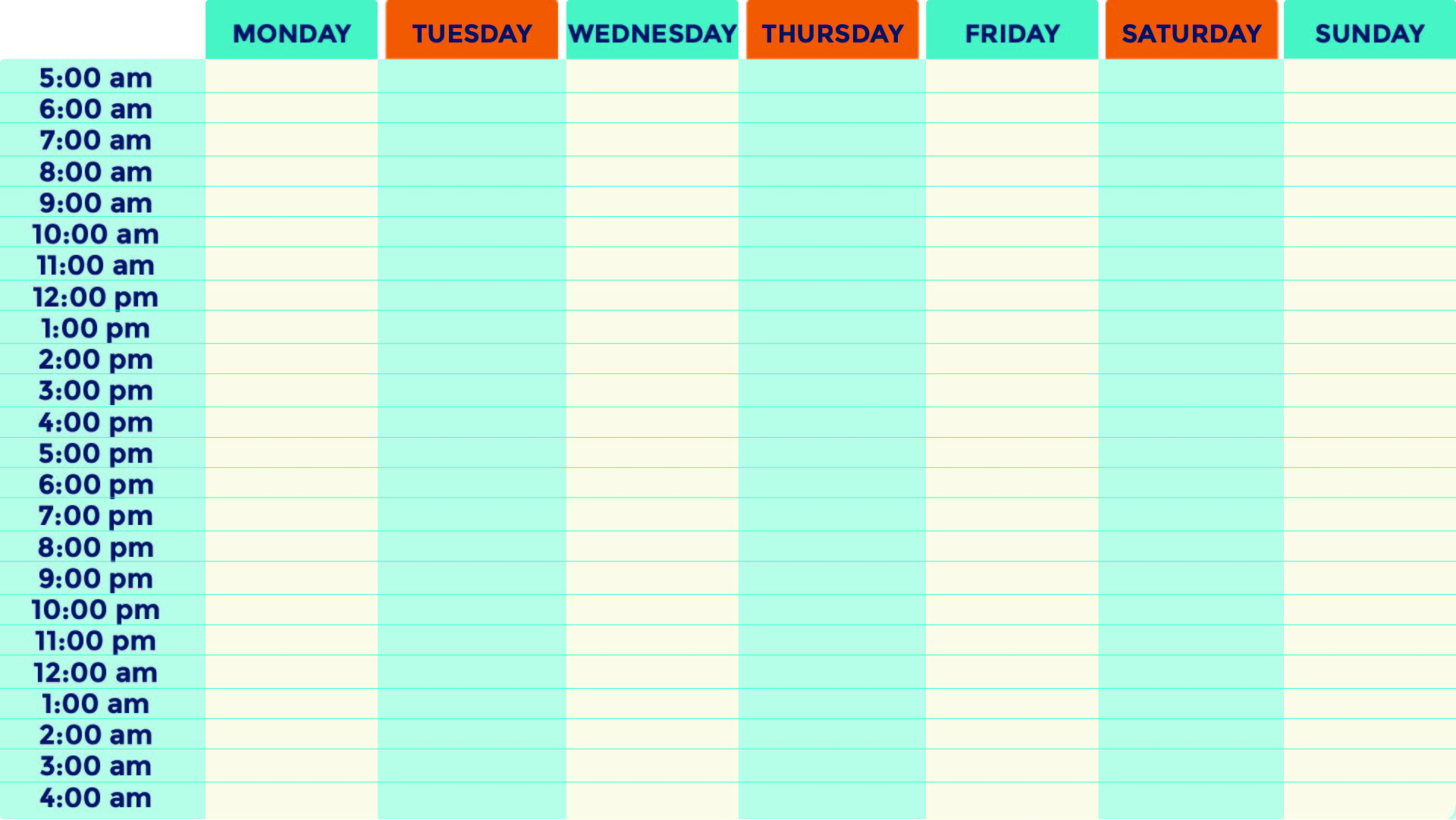 Printable Weekly Calendar with Time Slots