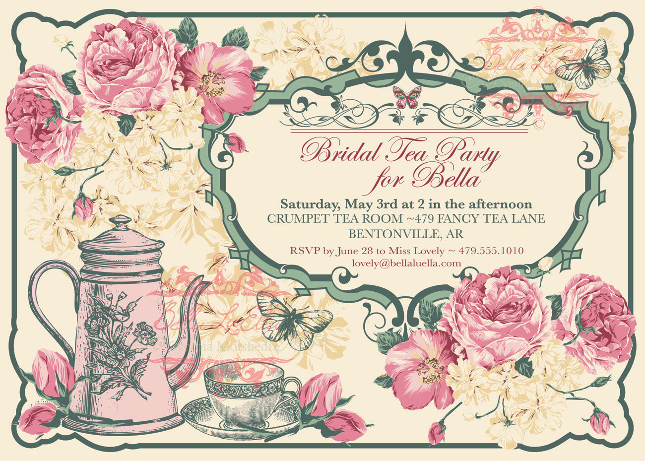 6 Best Images of Vintage Tea Party Invitations Printable ...