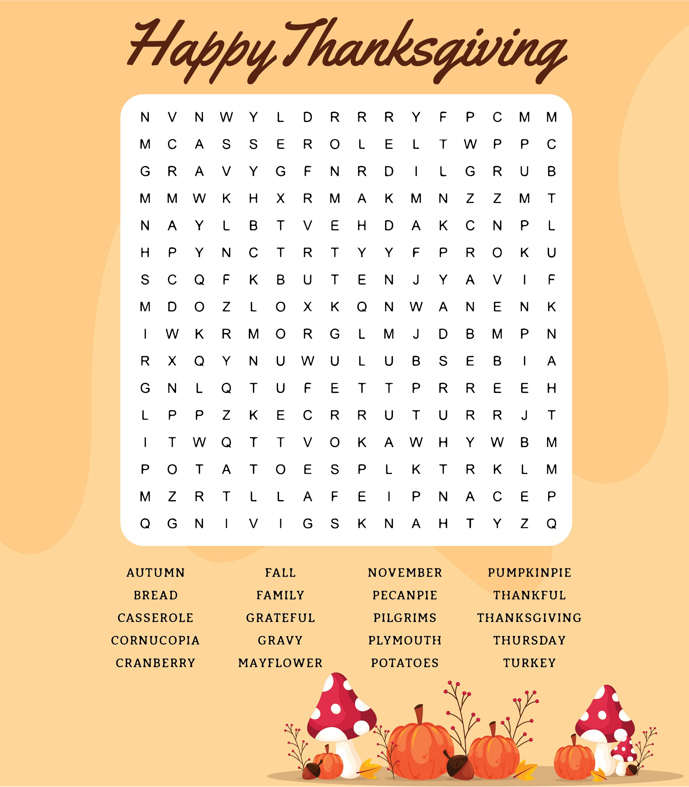 Thanksgiving Word Search Puzzles