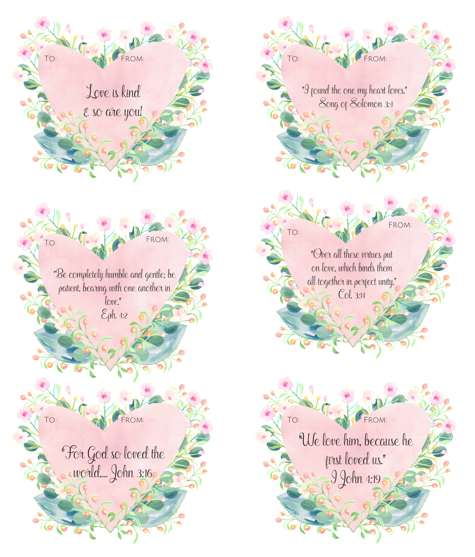 Valentines Day Card Printable Scripture