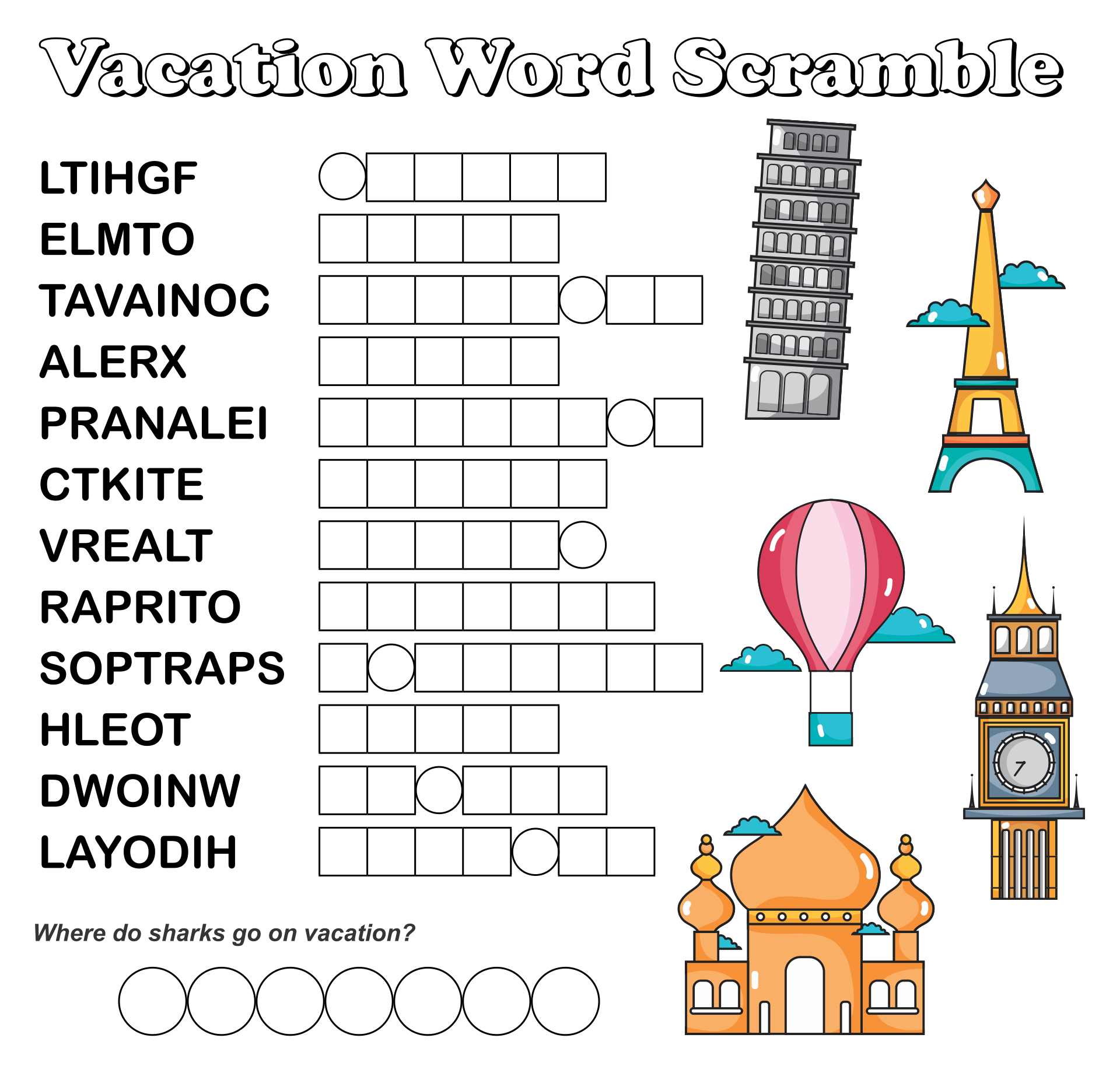Word Jumble Puzzles Printable