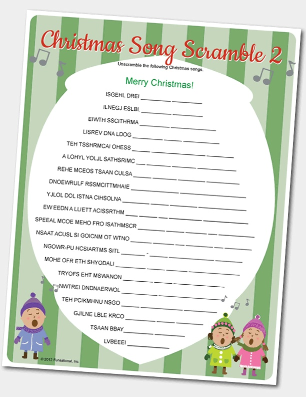 5 Images of Christmas Song Scramble Game Printable
