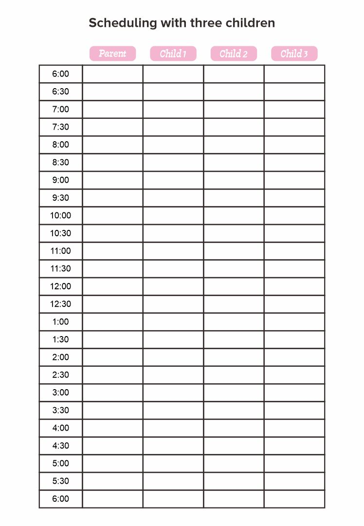 24 Hour Daily Schedule Template Printable