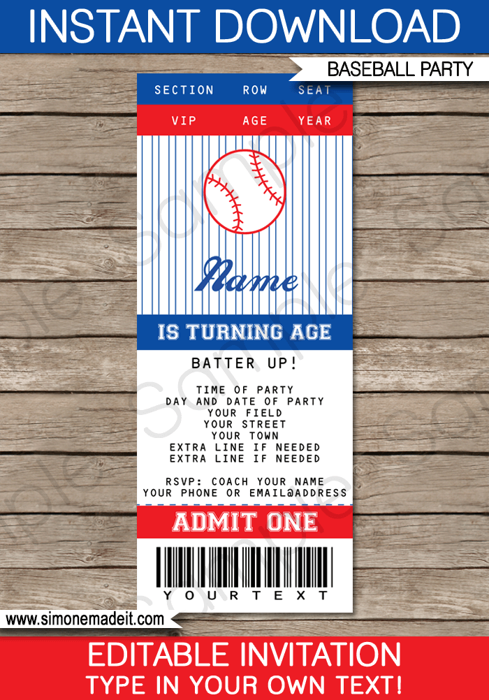 7 Images of Baseball Ticket Template Printable