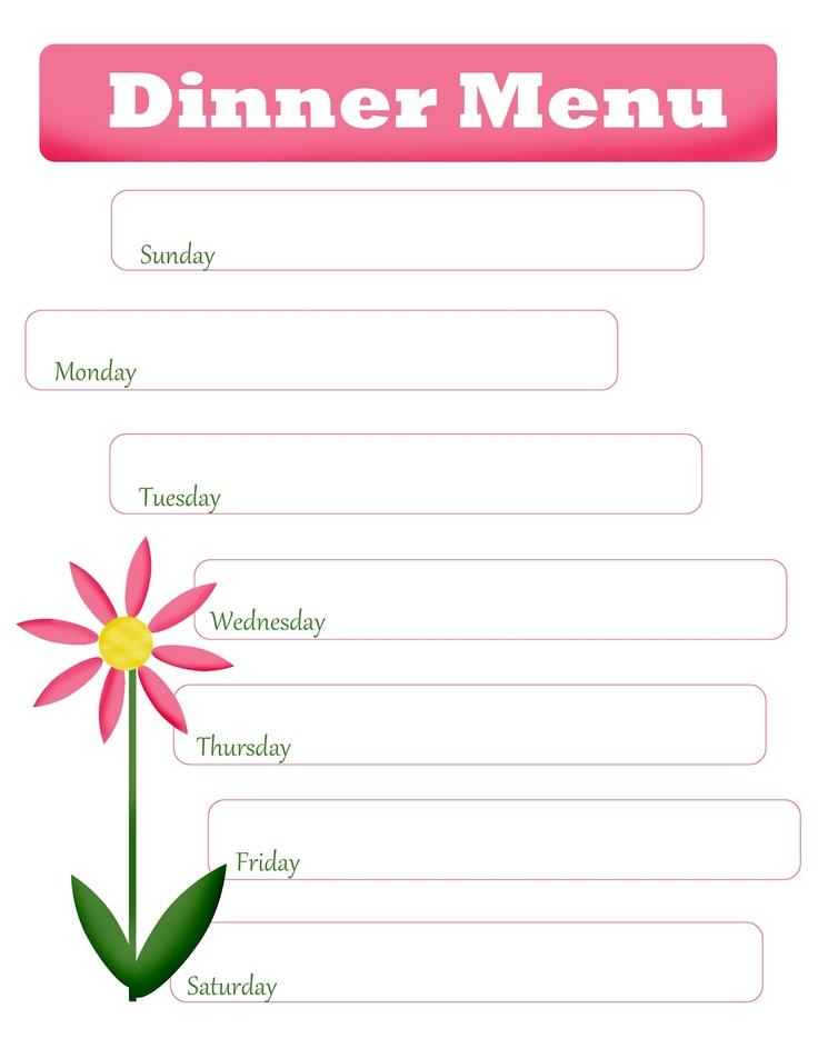 4 Images of Free Printable Blank Menu Planner