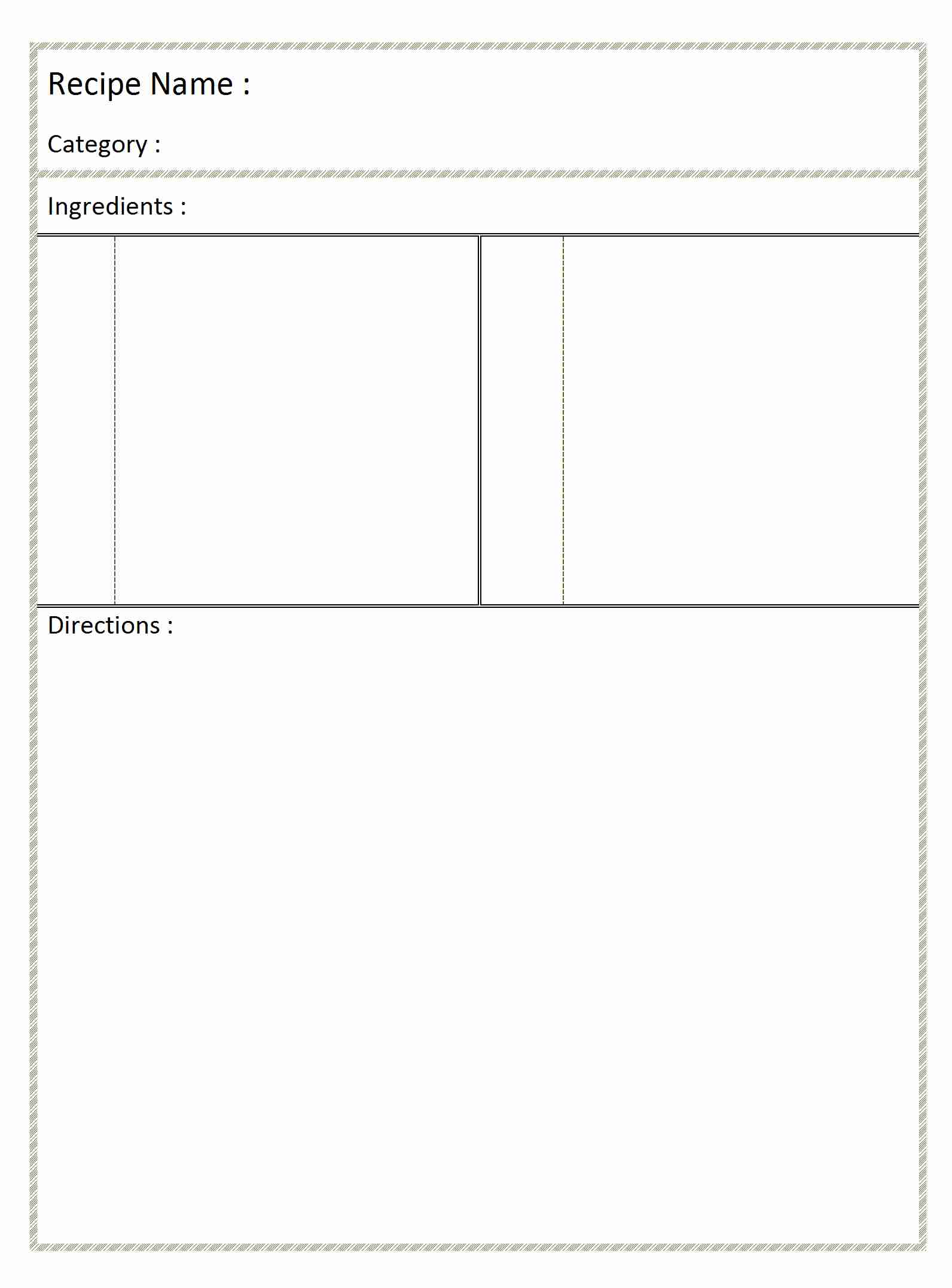 Blank Recipe Template for Word