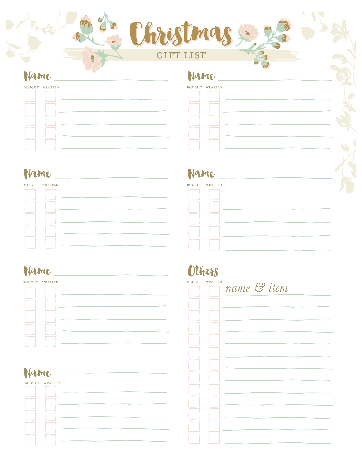 5 Images of Free Printable Christmas Organization Lists