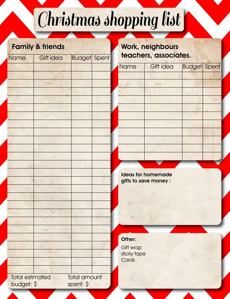 Christmas Shopping List Template