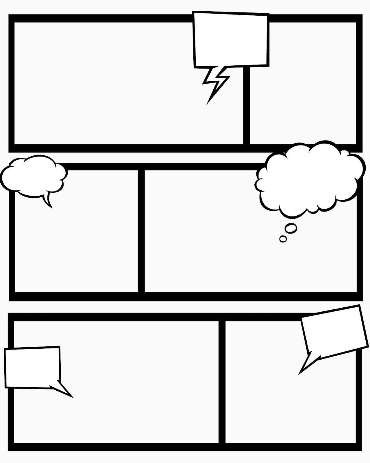 Comic Strip Template for Kids Printable