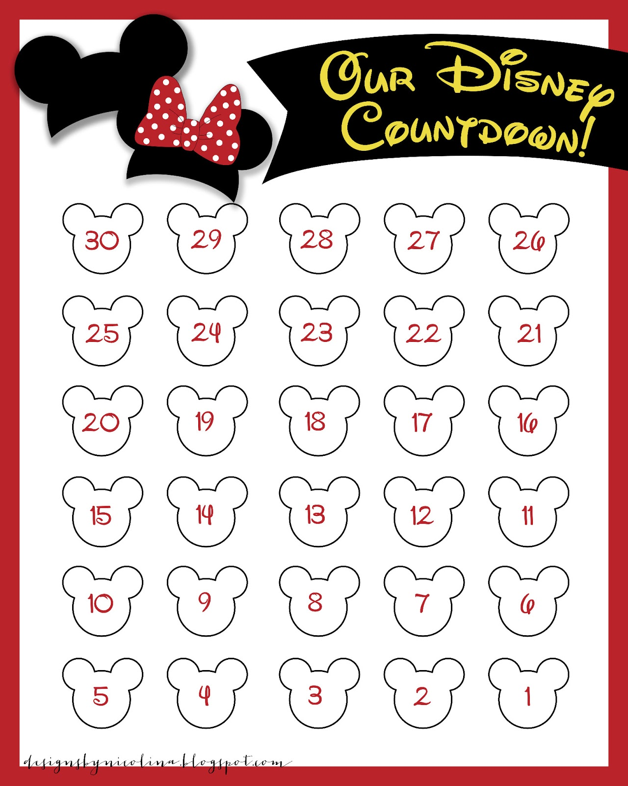 5 Images of Disney World Countdown Printables