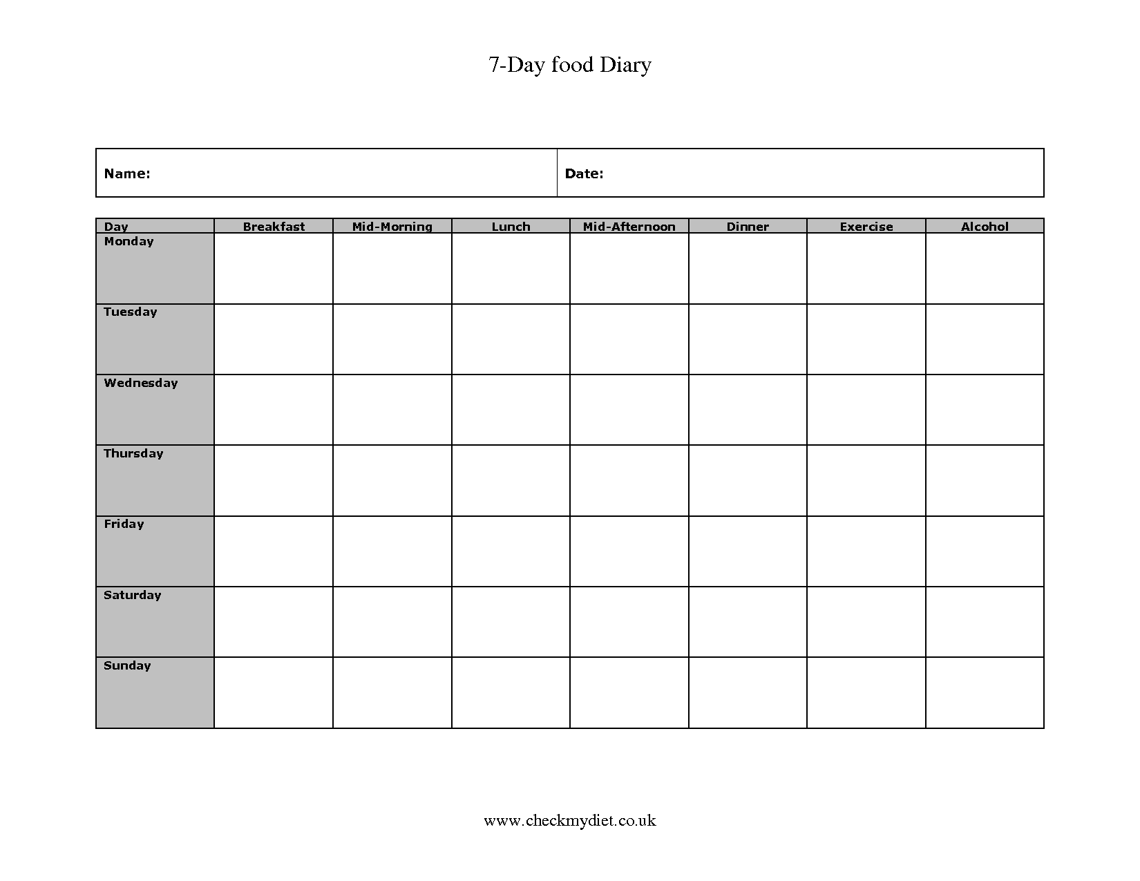 5 Images of 7-Day Food Diary Printable