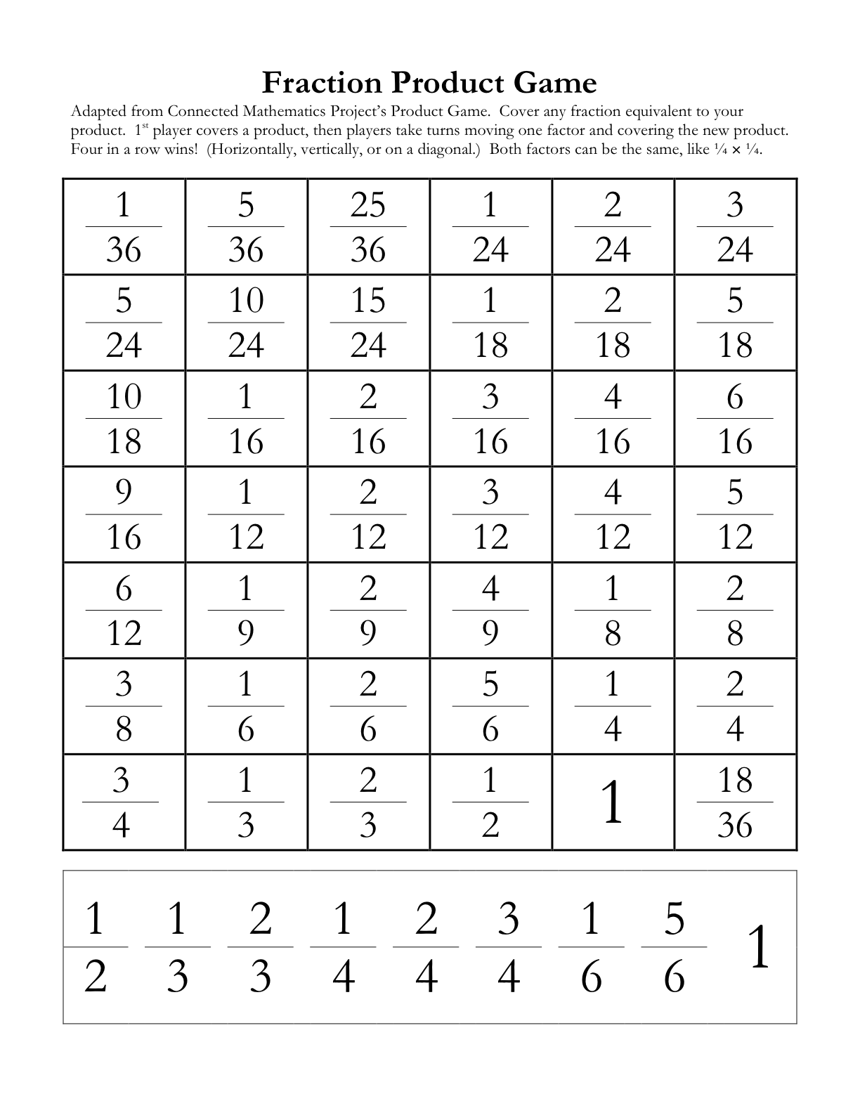 5 Images of Multiplication Fraction Printable Games
