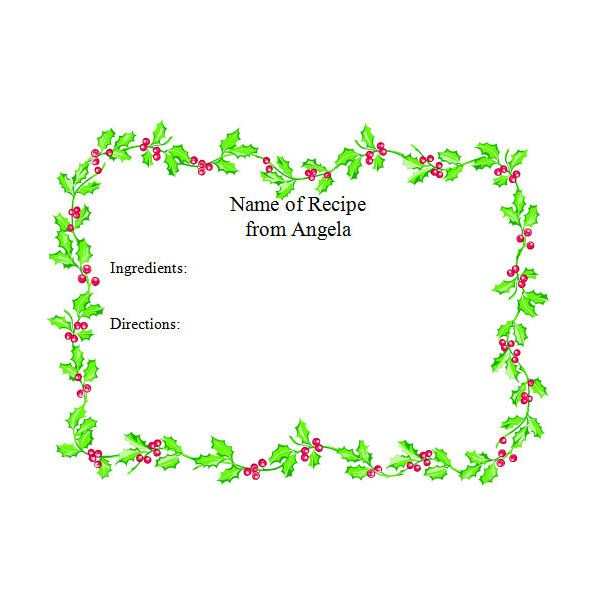 Christmas Recipe Cards Templates for Microsoft Word