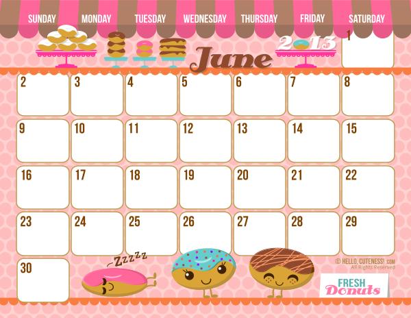 6 Images of Cute Printable June Calendar