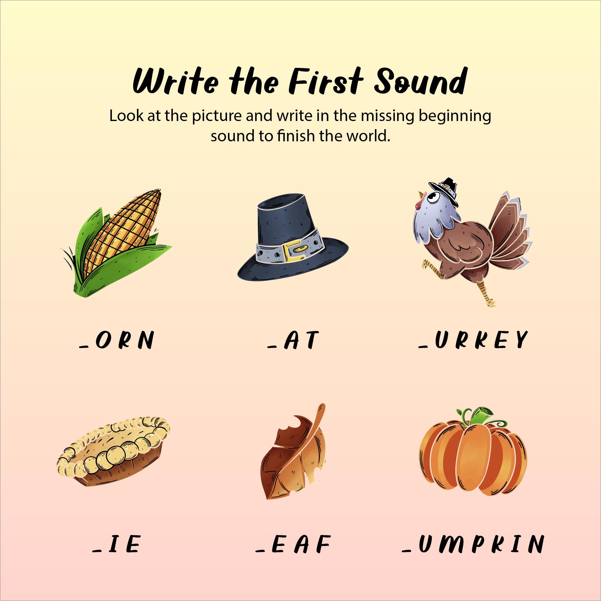 6 Best Free Printable Thanksgiving Worksheets Kindergarten - Printablee.com