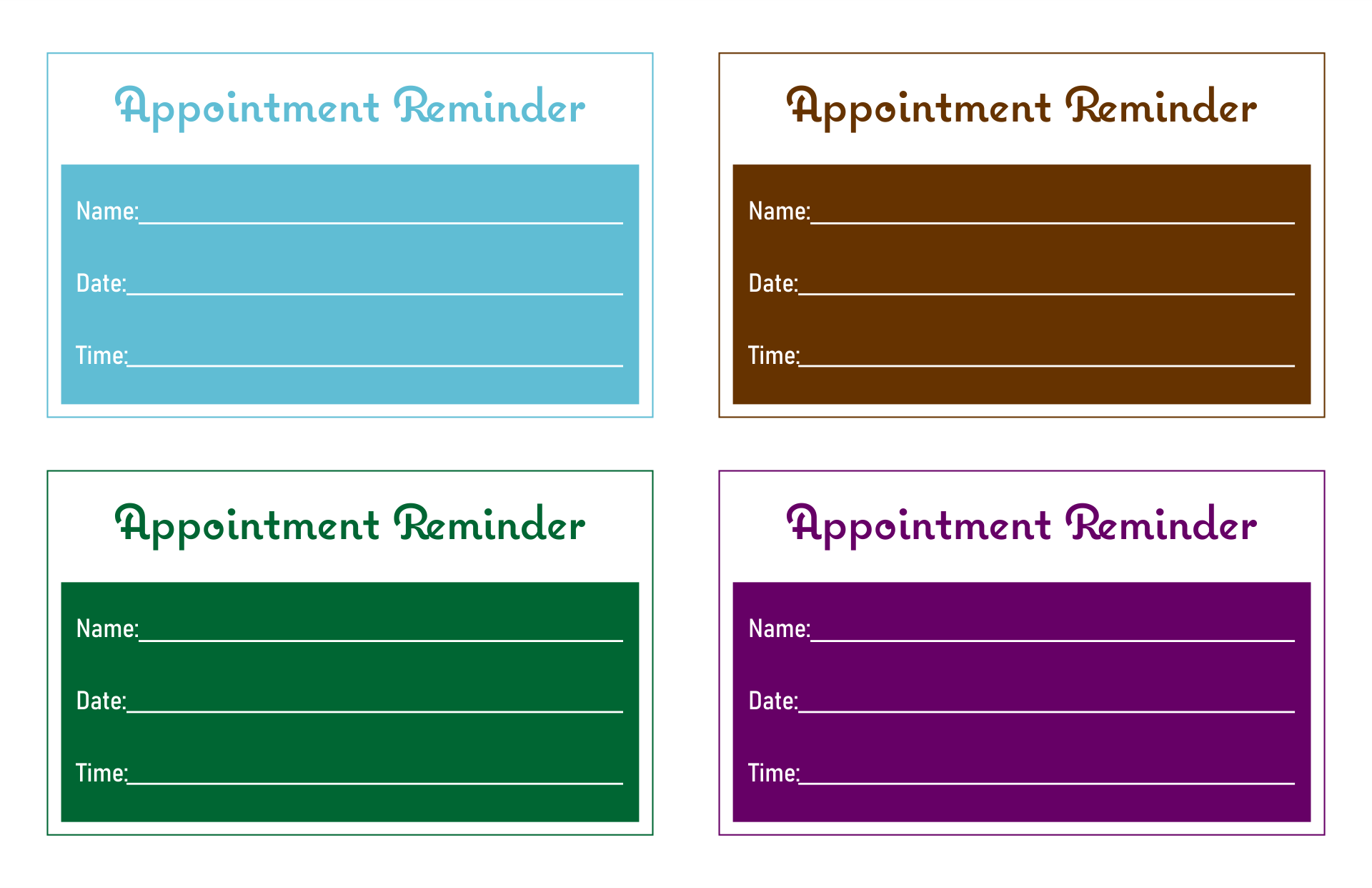 Printable Appointment Cards Templates