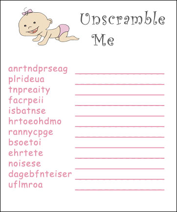 7 Images of Free Printable Baby Shower Scramble Games