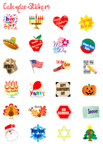 9 Images of Free Holiday Printable Calendar Stickers