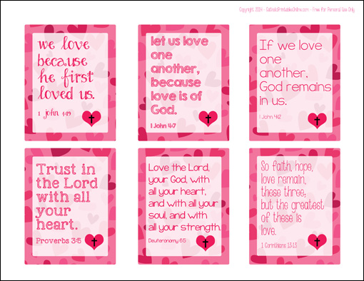 Free Printable Christian Bible Verse Valentine Cards