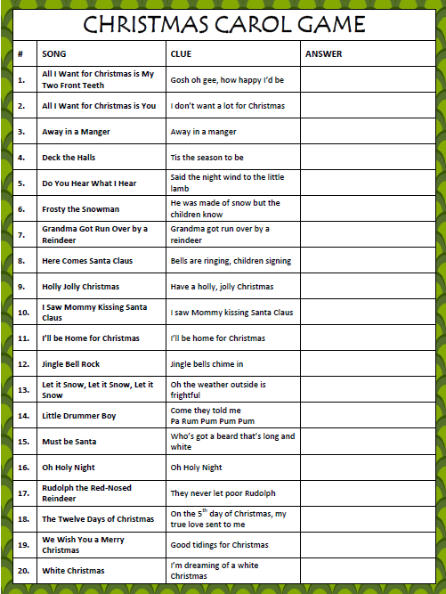 ... Scramble 5 best images of christmas song scramble game printable - 2