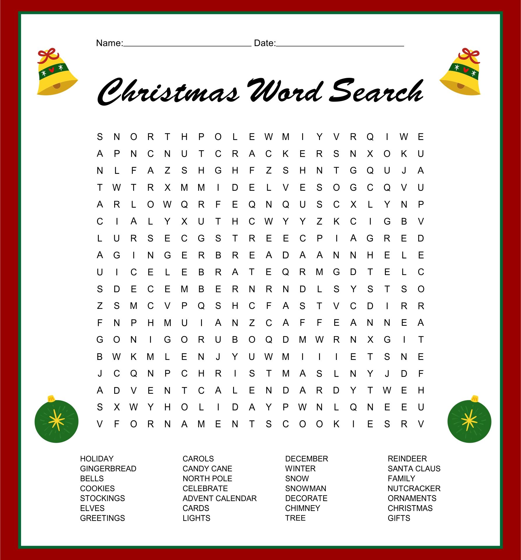 Printable Christmas Word Search Games