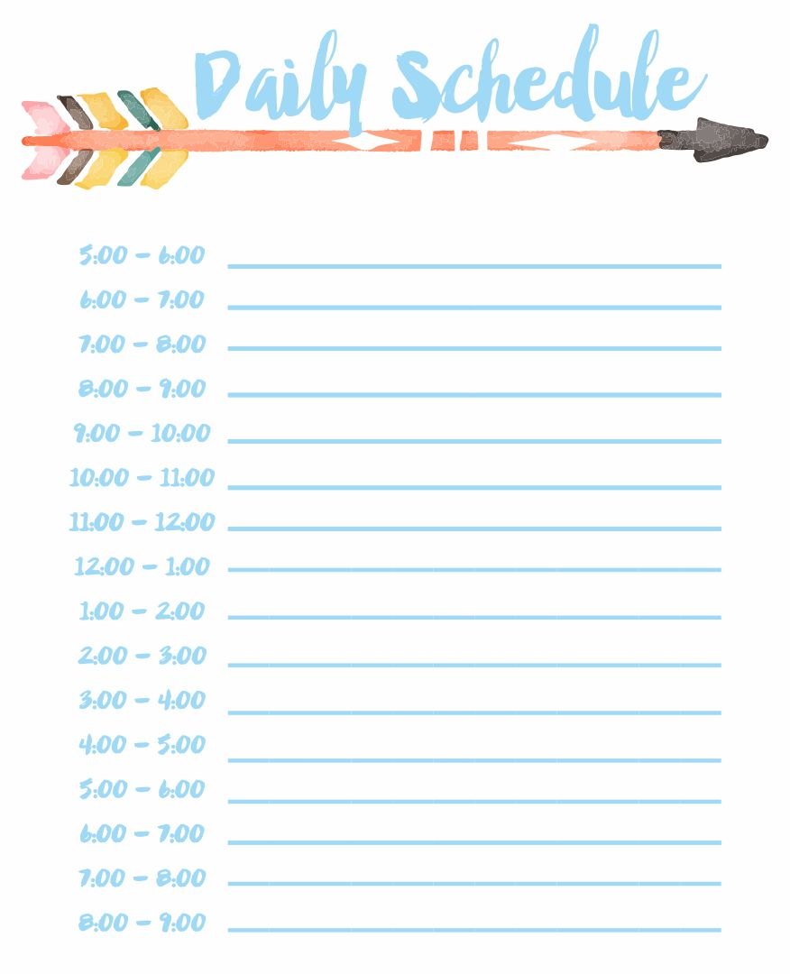 6 Images of Printable Daily Schedule By Hour