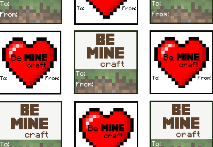6 Images of Minecraft Valentine Box Printables Free