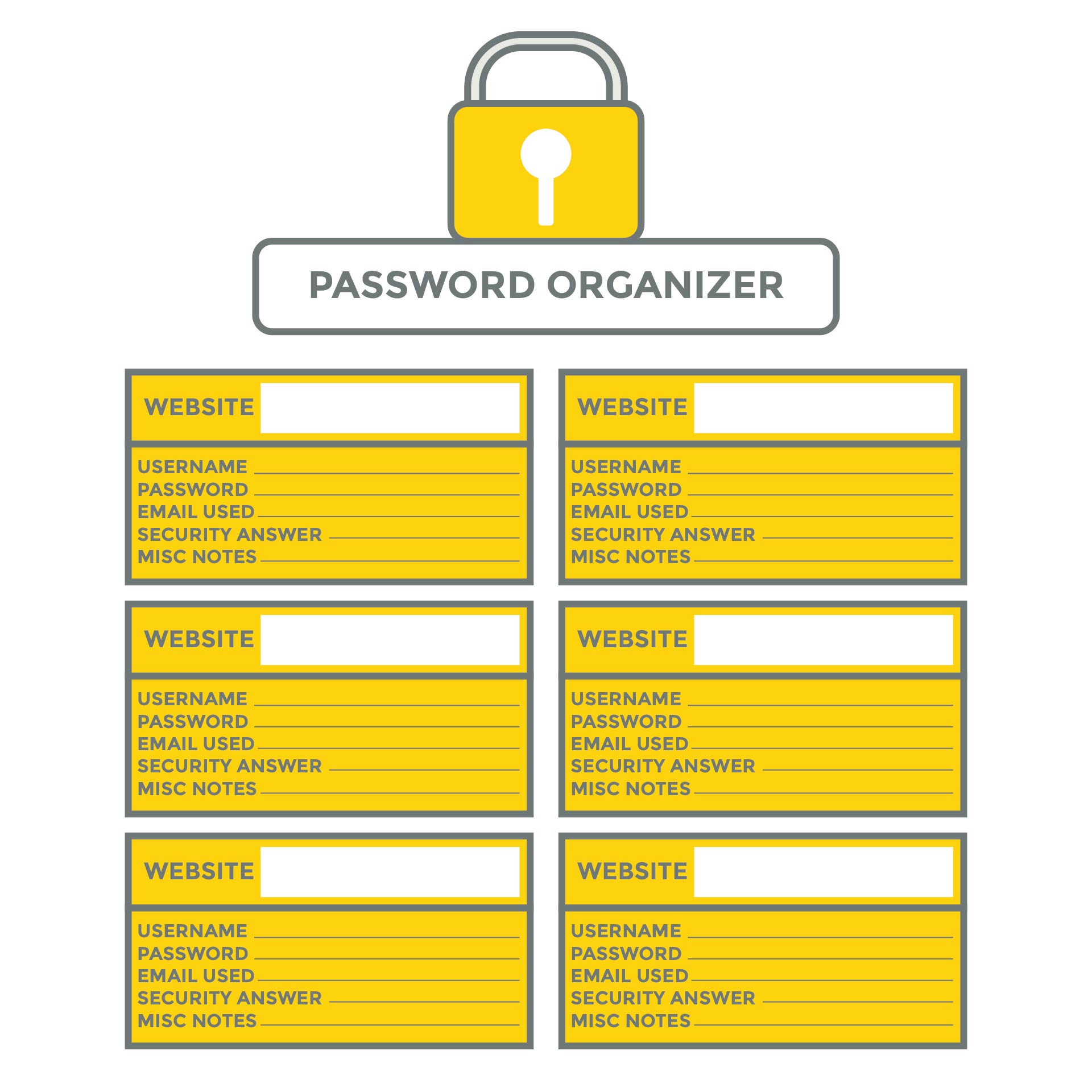 7 best images of internet password log printable free printable password organizer template. Black Bedroom Furniture Sets. Home Design Ideas