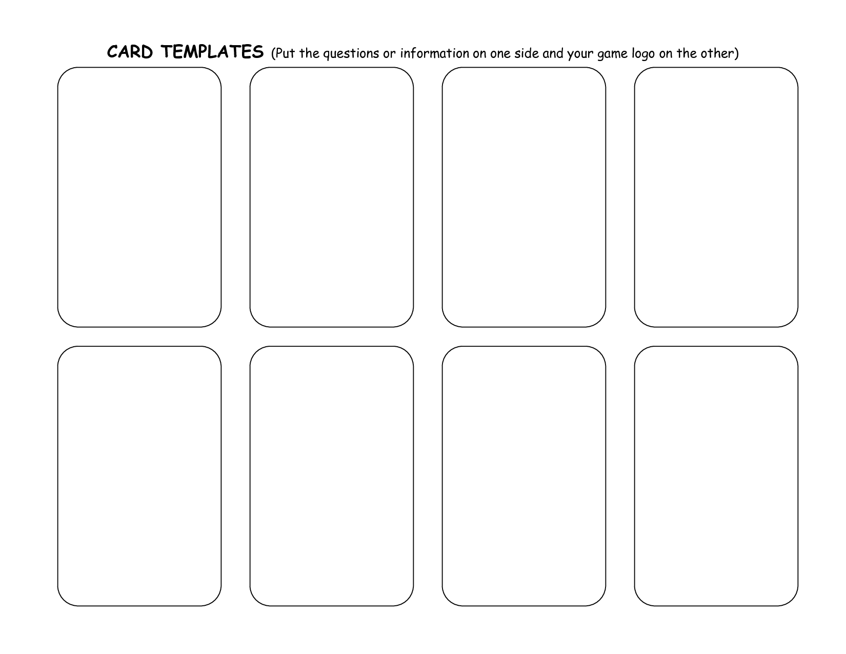 8 best images of card word template printable printable for Card game template maker