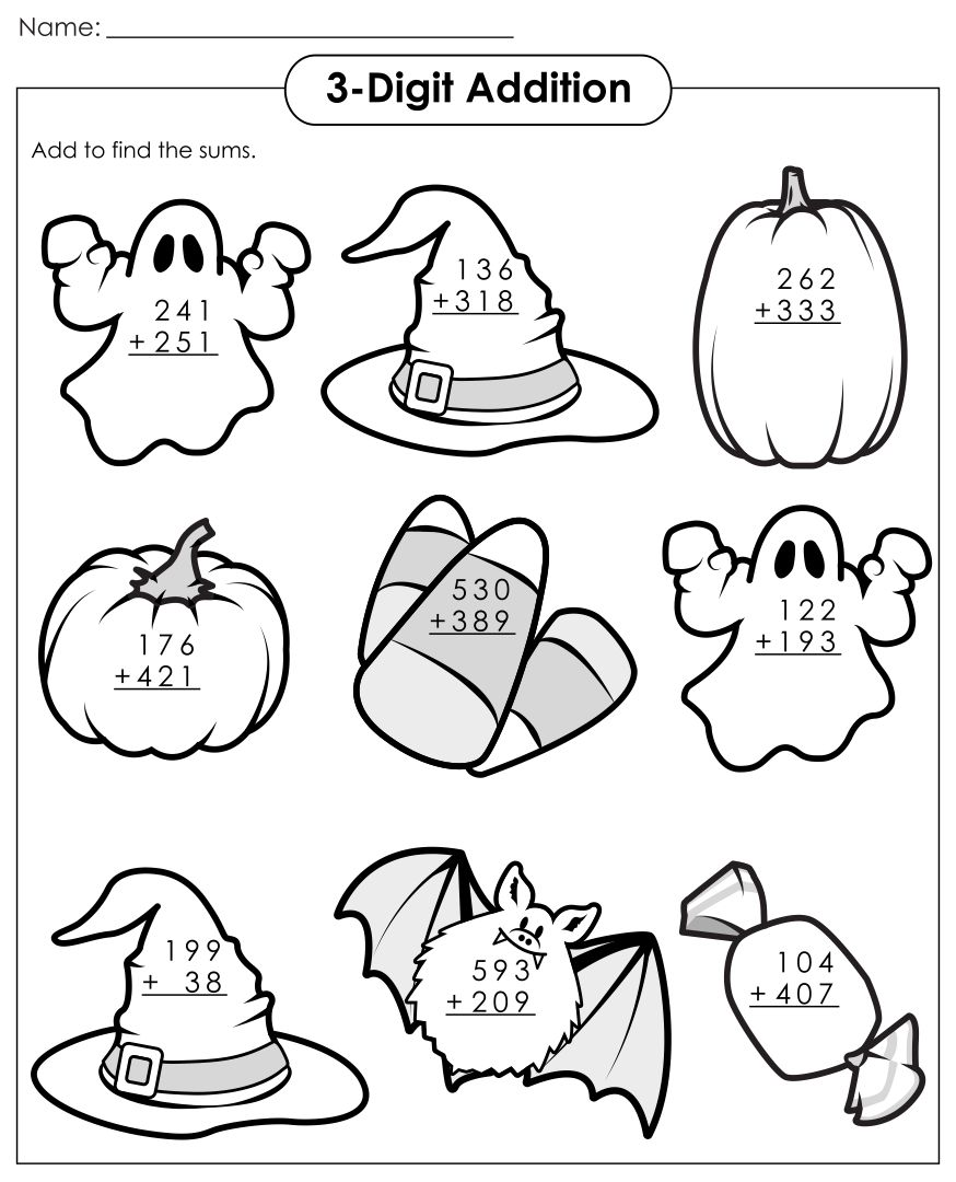 Halloween Math Worksheets Grade 2